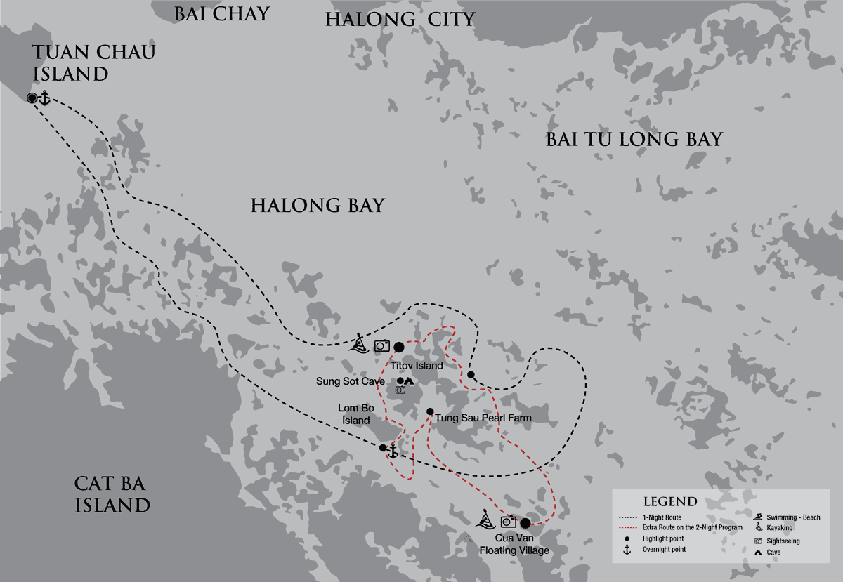 Halong Bay cruise map