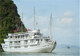 Wooden boat for Halong Bay charter cruise