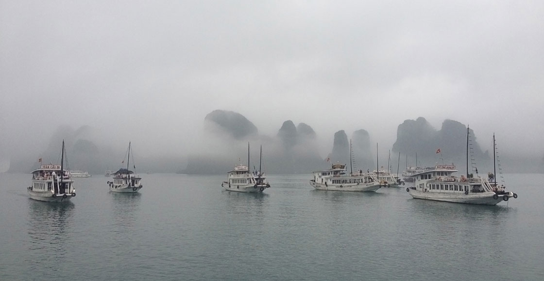 Halong Bay in foggy weather